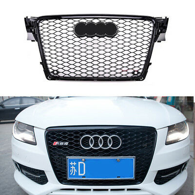 2009-2012 Audi A4 / S4 B8 8T RS4 Style Honeycomb Mesh Hex Grille - Gloss Black