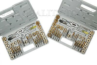 80 Pc Piece Titanium Metric & Sae Size Inch Steel Tap & And Die Tool Set Kit