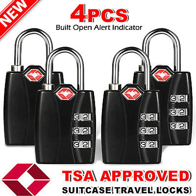 TSA Approve Open Alert [3 Digit Combo] Dial Code Travel Luggage Lock Alloy Body