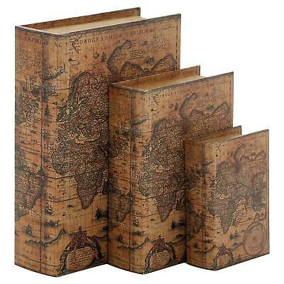 Vintage Reflections Old World Map Book-Style Storage Box Set 3ct - Olivia & May