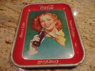 Coca Cola Red Hair Girl Tray Original Vintage 1950S Coke Soda Authentic