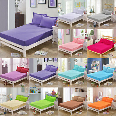Ultra Soft Flat Fitted Bed Sheet Queen/King Bedding Cover Protector Coverlet NEW