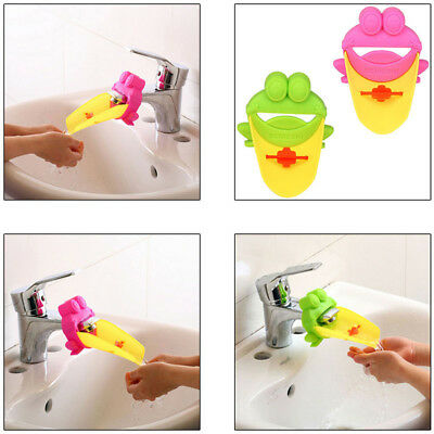 Baby Kids Frog Animal Washing Hand Bath Sink Water Tap Faucet Extender Groove US