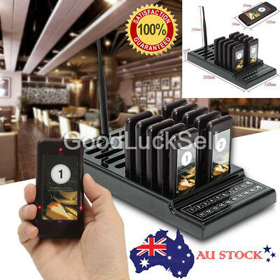 AU Restaurant Coaster Wireless 10 Pagers Guest Waiter Call Paging Queuing System