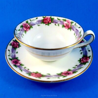 Lovely Pink Rose with Purple Ribbon Border Cauldon Tea Cup and Saucer
