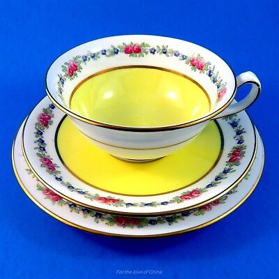 Handpainted Floral Border with Yellow Cauldon Tea Cup, Saucer and Plate Trio Set