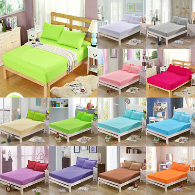 Cotton Fitted Sheet Bed Cover Coverlet Set Pillowcases Comfort Solid Colors New