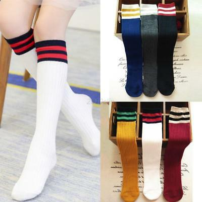Toddler Kids Baby Boy Girls Sport Football Soccer Long Socks Knee High Stockings
