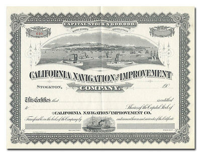 California Navigation and Improvement Co. Stock Certificate (Stunning Vignette!)