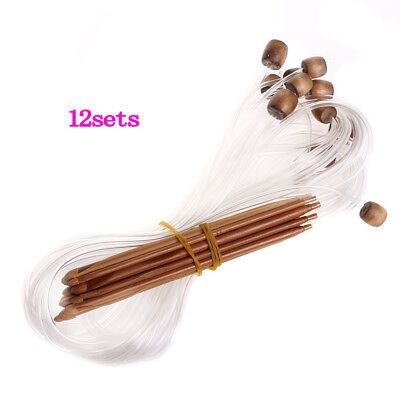 12 Sizes Afghan Tunisian Carbonized Bamboo Crochet Hooks 3.0-10.0mm--With A P6T1