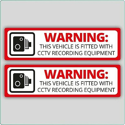 2x CCTV DASH CAM RECORDING CAR STICKER VEHICLE VAN HGV MOTOR BIKE