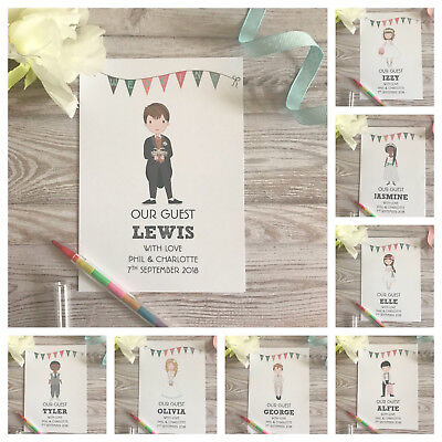Children's Personalised Wedding Activity Pack Book Bag Gift A6 Guest Packs White