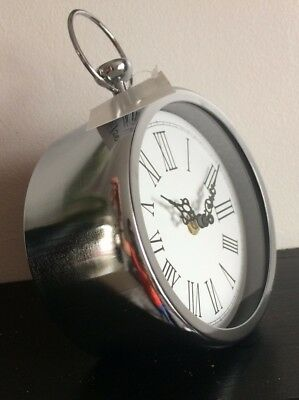 Vintage Pocket Watch Style Silver Chrome Metal Round Mantle Free Standing Clock