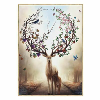 Wall Art Deer Stag with Long Antler Bloom and Bear Fruit Pictures Prints On U2K6