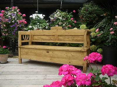 Fab! Old Antique Victorian Pine Hungarian/monks Box Bench/settle/pew/storage