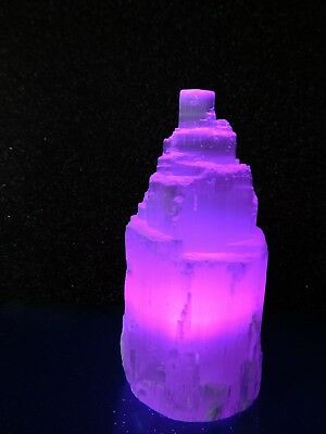10.5cm Selenite Mountain Tower Crystal Colour Changing USB Lamp Calming
