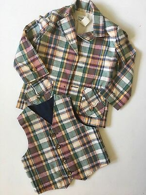 Vintage Plaid Jacket Coat and Vest Set Boys Sz 4 5