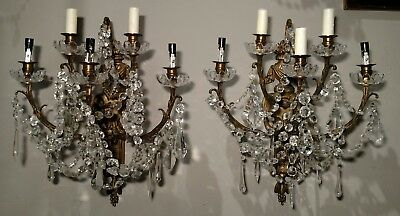 PAIR Antique FRENCH 19th C Neo-classical BRONZE & CRYSTAL Wall 5 Arm SCONCES