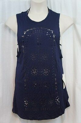 15c5255f86 Roxy Swim Cover Up Sz XS Blue Sleeveless Floral Cut Out Swim Cover Up  ARJX603012