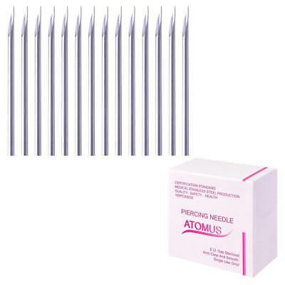 100pcs Body Navel Nose Ear Stainless Piercing Needles Gauge 12,14,16,18,20G