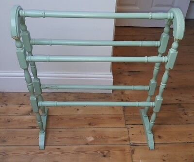 Wooden painted shabby chic towel rail towel stand for Shabby chic towel stand