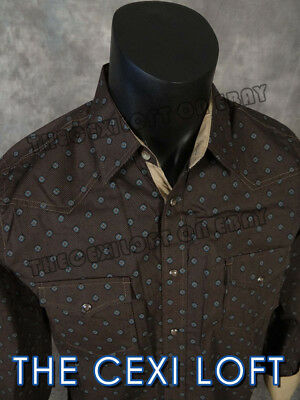 Mens WESTERN FASHION Snap-Up Shirt Dark Brown Paisley Patterns ROAR with Class!