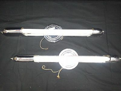 Antique Chrome Plated Tube Wall Light Fixtures Set of 2