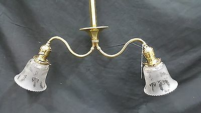 Antique Brass Ceiling Light Fixture Chandelier With Two Etched Glass Shades