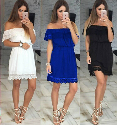 US Women Lace off Shoulder Mini Dress Short Lace Sleeve Summer Cocktail Sundress