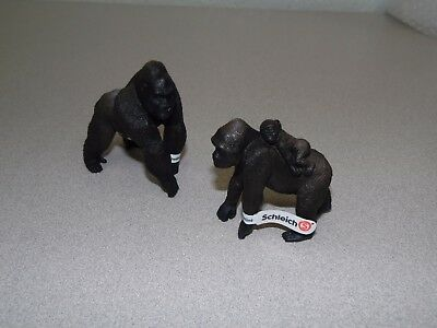 Schleich Gorilla Set Male and Female w/Baby Wild Life Figure w/Tags