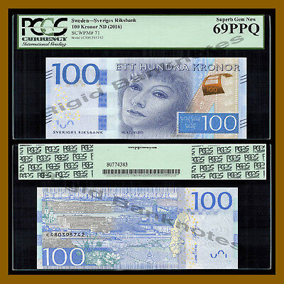 Sweden 100 Kronor, ND 2016 P-71 New Greta Garbo PCGS 69 PPQ