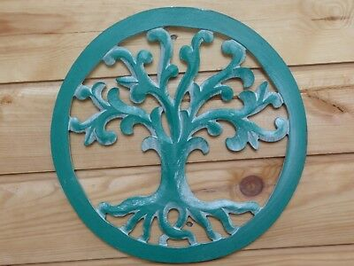 Wooden Painted Shabby Chic Tree Of Life Plaque 30cm..