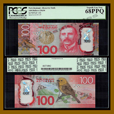 New Zealand 100 Dollars, 2016 P-195 Polymer PCGS 68 PPQ