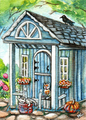 """ACEO LE Art Card Print 2.5x3.5"""" Cats In Front Of Cottage House """" Art by Patricia"""