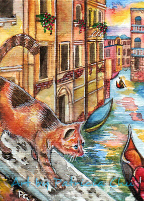 "ACEO LE Art Card Print 2.5x3.5"" "" Cat In Venice "" Animal Art by Patricia"