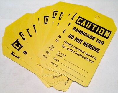 25-Pack Accuform Yellow Caution Barricade Tag Do Not Remove Safety Tags NEW 7B7