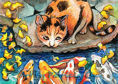 "ACEO LE Art Card Print 2.5x3.5"" "" Cat By Koi Pond "" Animal Art by Patricia"
