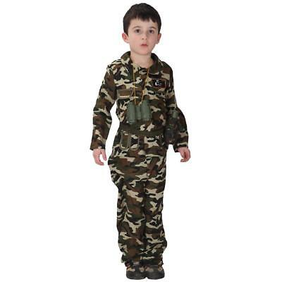 d024eb657 ARMY SOLDIER KID Fancy Dress Sergeant Military Uniform Boys Girls ...