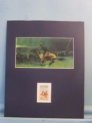 """The Stampede"" painted by Frederic Remington honored by his own stamp"