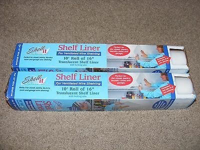 "2 New Shelf-IT Shelf Liner 10 Foot Rolls for 16"" Wire Shelving with Locking Tabs"
