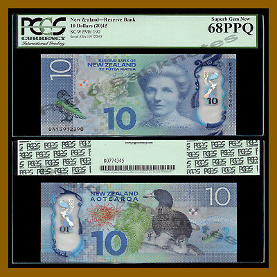New Zealand 10 Dollars, 2015 P-192 Polymer PCGS 68 PPQ