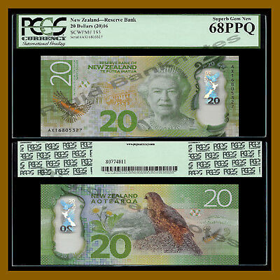 New Zealand 20 Dollars, 2016 P-193 Polymer PCGS 68 PPQ