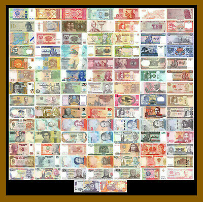 100 Pcs of Different World Mix (Mixed) Foreign Banknotes Currency Lot, Unc