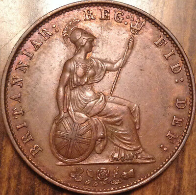 1857 Uk Gb Great Britain Half Penny Excellent Example