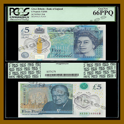 Great Britain England 5 Pounds,2015,P-394 NEW , UNC,Churchill, QEII PCGS 66 PPQ