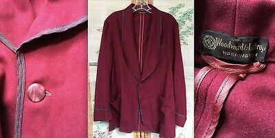 Vtg State O Maine 100% Wool Gab Smoking Jacket Dressing Robe Lounge Wine Red Euc