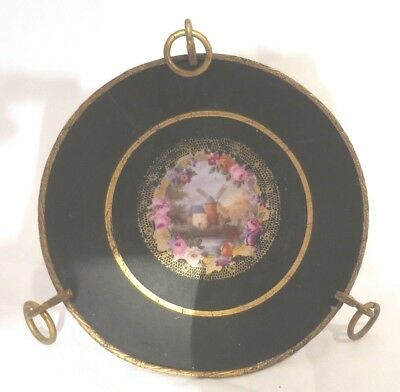 French Antique Hand Painted Porcelain Dish/Plate Gilt Dore Stand Landscape Rose
