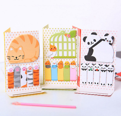 Kawaii Animal Cat Panda Sticky Notes Memo Pad School Supplies Bookmarks Student