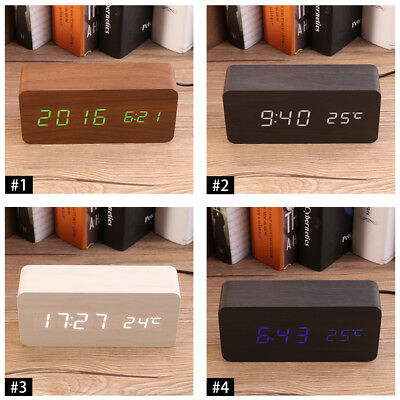 Electronic Digital Wood LED Alarm Clock Sounds Control Temperature Desk Decor CO