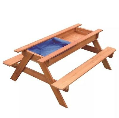 New Sand & Water Picnic Table Kids Playhouse Outdoor Play Toy Sandpit Sandbox